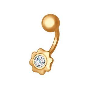 Пирсинг в пупок из золота с фианитом 060205 SOKOLOV