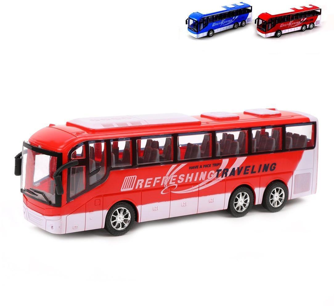 Автобус инерционный, размер 32*8*10см, пакет, в ассортименте
