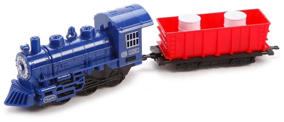 Игр.набор Товарный поезд, паровоз инерц., вагон, бочка 2шт., пакет