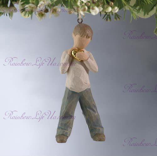 """Подвеска ангел - мальчик с золотым сердцем """"Willow Tree"""""""