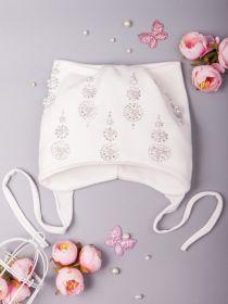 РБ Шапка трикотажная для девочки, на завязках,  молочный/белый 00-0017292/00-0017294