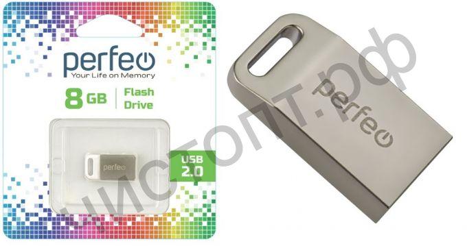 флэш-карта Perfeo 8GB M05 Metal Series мини брелок