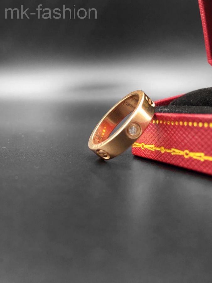 Cartier кольцо Love фианит Pink Gold