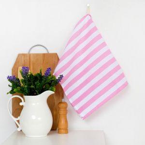 """Полотенце """"Этель"""" Розовая полоска 35х65 ± 2 см на петельке, рогожка ,160 гр/м2"""