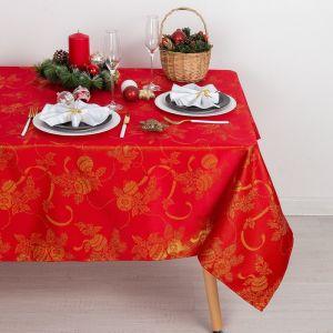 Скатерть Доляна «Счастливый Новый год» цвет красный, 110?150 см, 115 ± 10 г/м?, 100% п/э