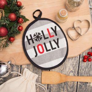 """Прихватка """"Holly Jolly"""" 17х17см,100% хл 160 г/м2, рогожка   4209456"""