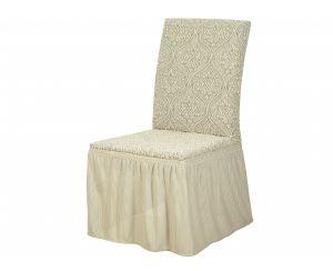 Набор чехлов для стульев 6 шт с оборкой ,KAR 010-01 Krem