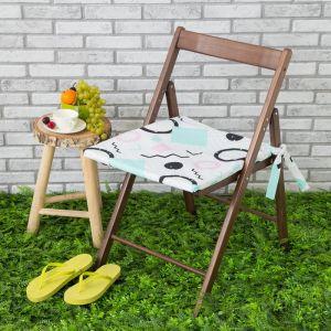 Подушка на стул уличная «Этель» Квадраты, 45?45 см, репс с пропиткой ВМГО, 100% хлопок