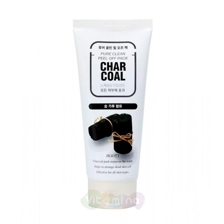 Jigott Очищающая угольная маска-пленка Char Coal Pure Clean Peel Off Pack, 180 мл