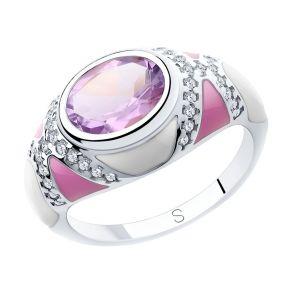 Кольцо из серебра с эмалью и аметистом и фианитами 92011902 SOKOLOV