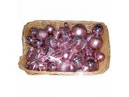 Набор елочных украшений блестящих, матовых, 50 шт., 4,5,6,7,8 см, 4 цв., в корзине