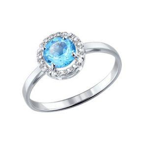 Кольцо из серебра с топазом и фианитами 92011016 SOKOLOV