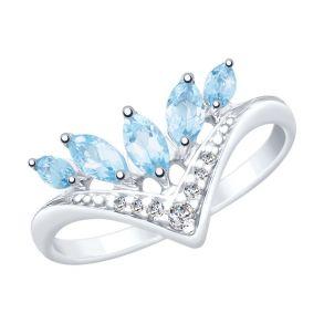 Кольцо из серебра с топазами и фианитами 92011821 SOKOLOV