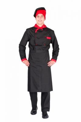 Костюм повара мужской черно-красный