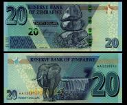 ЗИМБАБВЕ - 20 долларов 2020. ПРЕСС UNC