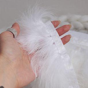 Тесьма с перьями белая, 8 см
