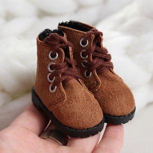 Обувь для кукол 5,5 см - Сапожки на молнии коричневые