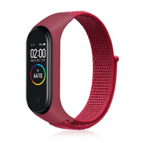 Сменный тканевый ремешок на фитнес-браслет Xiaomi mi band 5/6 ( бордовый )