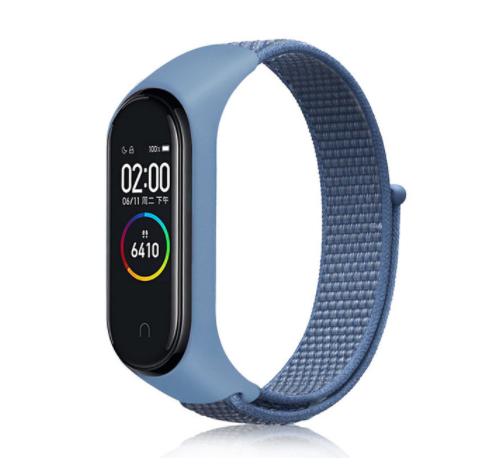 Сменный тканевый ремешок на фитнес-браслет Xiaomi mi band 5/6 ( синий )