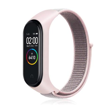 Сменный тканевый ремешок на фитнес-браслет Xiaomi mi band 5/6 ( розовая ткань )
