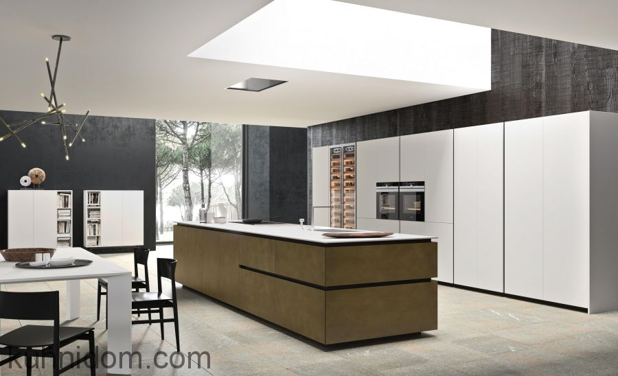 Кухня Fenix NTM 0032 Bianco Kos с островом