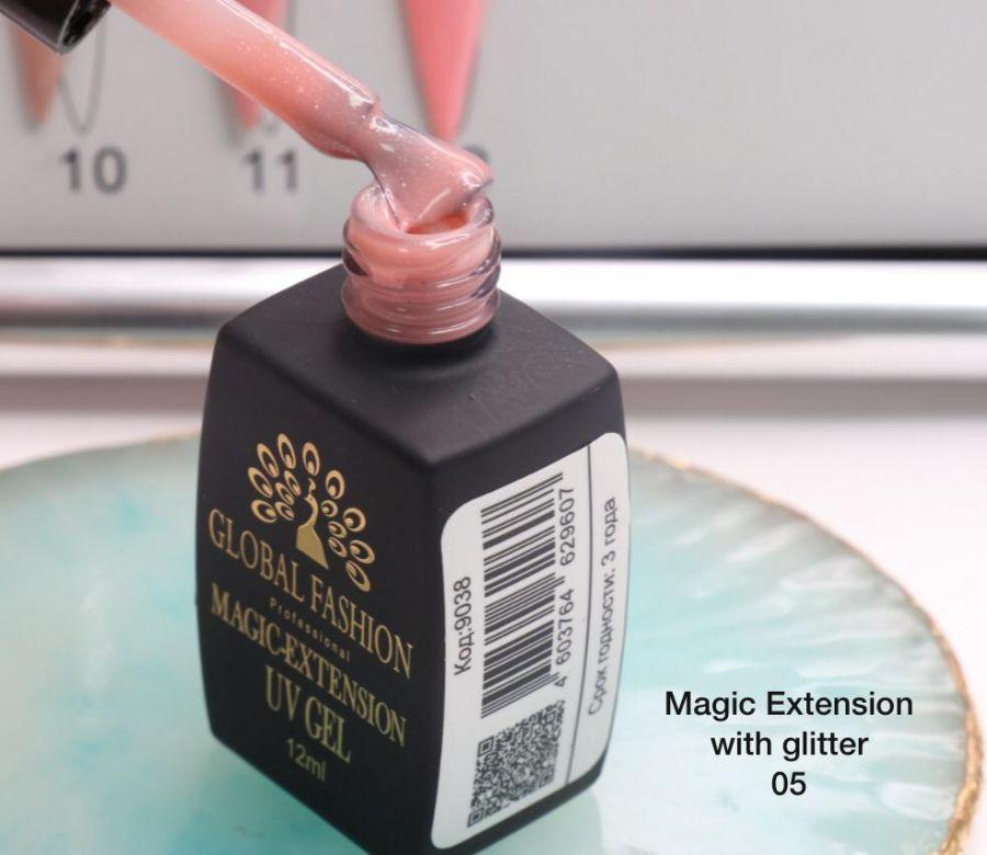 ГЕЛЬ Глобал Фешн ФЛАКОН 12 мл. MAGIC LIQUID EXTENSION 05 с шиммером