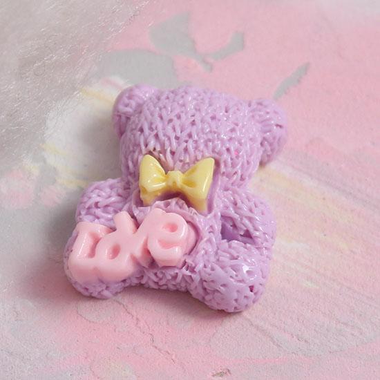 Кукольная миниатюра - Кабошон медвежата сиреневые 2 см