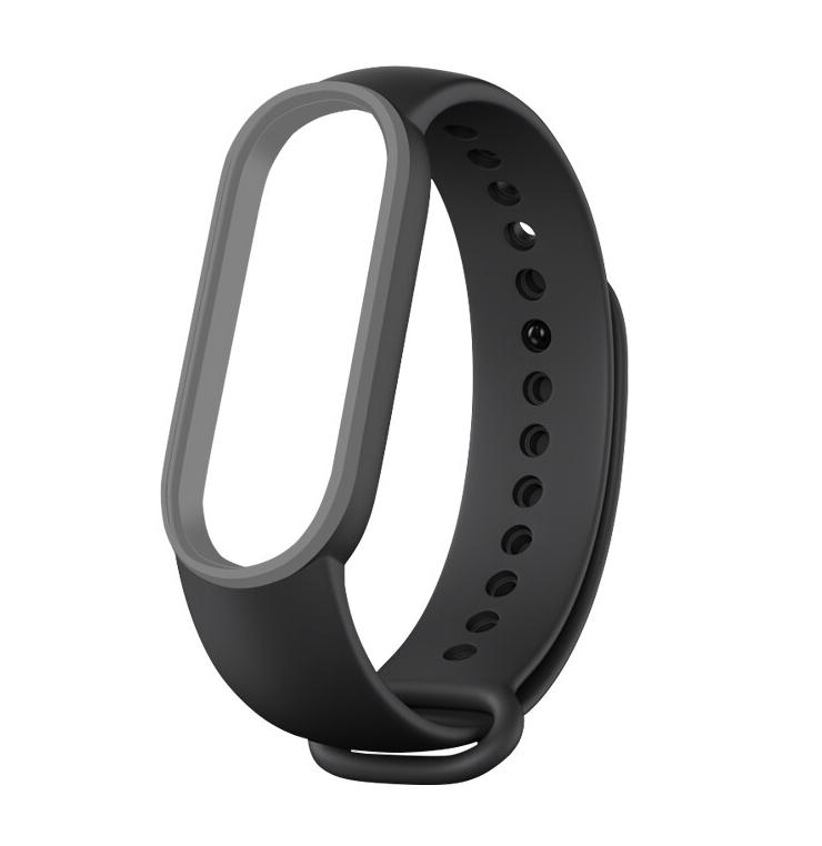 Сменный двухцветный ремешок на фитнес-браслет Xiaomi mi band 5 ( Черно-серый )