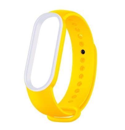 Сменный двухцветный ремешок на фитнес-браслет Xiaomi mi band 5 ( Желто-белый )