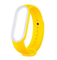 Сменный двухцветный ремешок на фитнес-браслет Xiaomi mi band 5/6 ( Желто-белый )