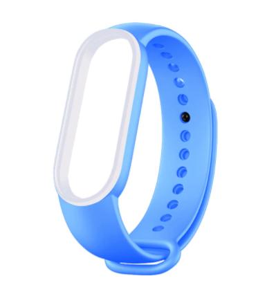 Сменный двухцветный ремешок на фитнес-браслет Xiaomi mi band 5/6 ( Светло синий-белый )