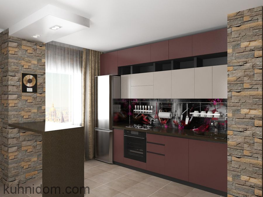 Кухня Fenix NTM Bloom 0770 Rosso Askja