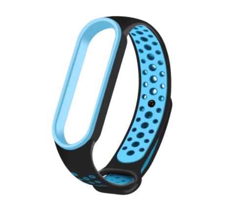 Спортивный ремешок на фитнес-браслет Xiaomi mi band 5/6 ( Черно-синий )