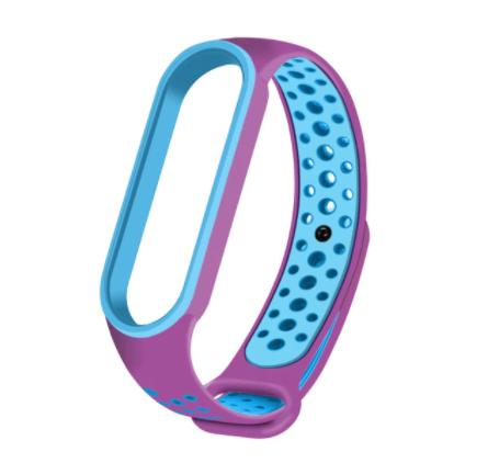 Спортивный ремешок на фитнес-браслет Xiaomi mi band 5/6 ( Фиолетово-синий )