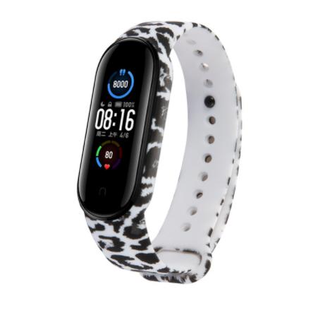 Сменный ремешок с рисунком на фитнес-браслет Xiaomi mi band 5 ( Леопард-белый )