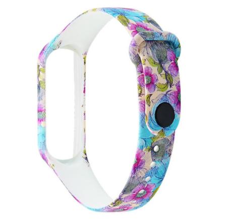Сменный ремешок с рисунком на фитнес-браслет Xiaomi mi band 5 ( Цветы-синие )