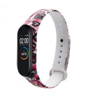 Сменный ремешок с рисунком на фитнес-браслет Xiaomi mi band 5 ( Сердца-белый )