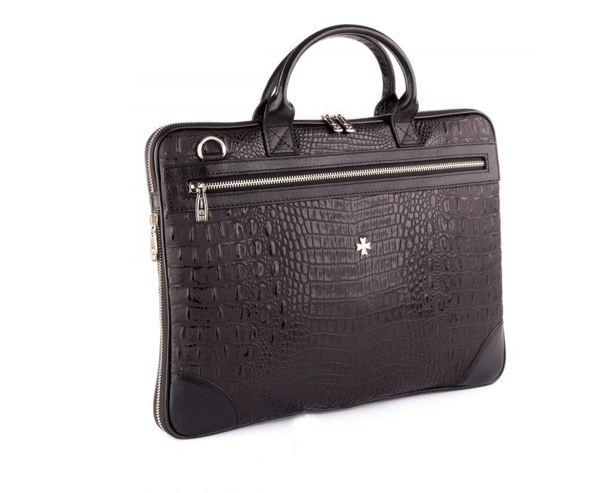 Портфель-сумка из натуральной кожи с увеличением объема Narvin 9742-N.Bambino Black