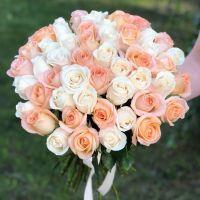 51 роза Эквадор 50 см бело-персиковый микс