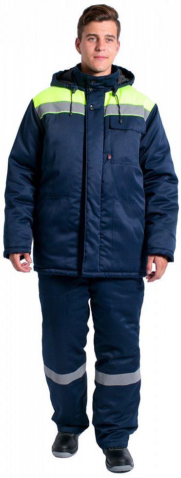 Куртка зимняя Экспертный-Люкс NEW (тк.Смесовая,210), т.синий/лимонный