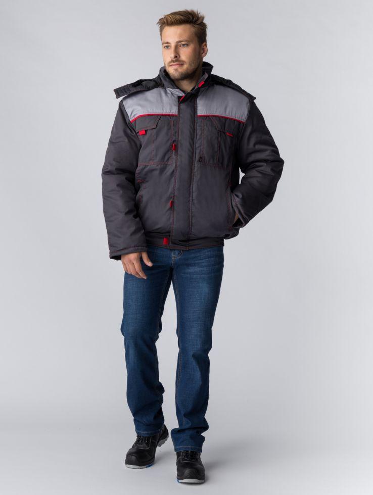 Куртка зимняя укороченная Фаворит NEW (тк.Балтекс,210), т.серый/серый