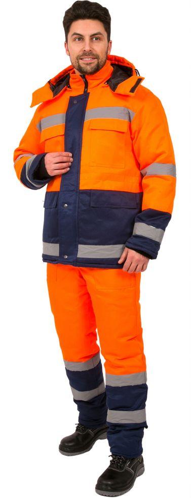 Костюм зимний Дорожник (тк.Смесовая,210) брюки, оранжевый/т.синий
