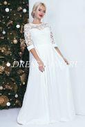 Белое платье в пол с кружевным лифом
