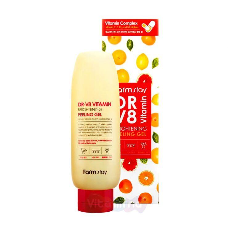 FarmStay Пилинг-гель с витаминным комплексом DR-V8 Vitamin Brightening Peeling Gel, 150 мл