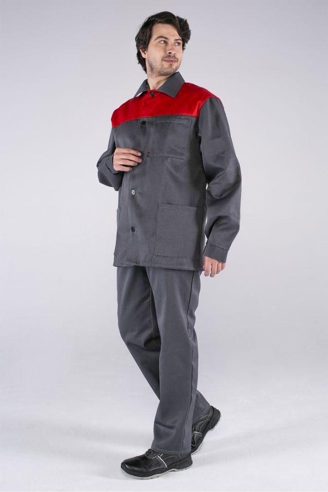 Костюм Стандарт (тк.Смесовая,210) брюки, т.серый/красный