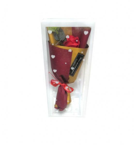 Роза из парфюмированного мыла в прозрачной подарочной упаковке, 25 см