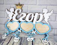 Детская метрика с тремя фоторамками в виде сердечек ангелочками и короной