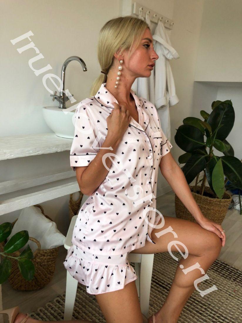 720163-Цена за 1 шт.,Пижама двойка+маска для сна Виктория Сикрет