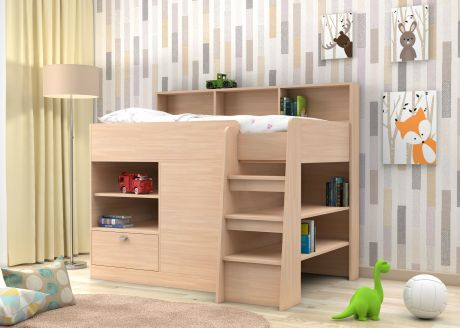 Кровать чердак  Golden Kids 9 (корпус дуб молочный)