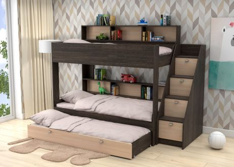Трехъярусная кровать  Golden Kids 10.1 (корпус венге)